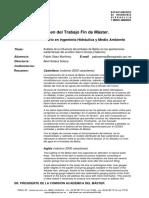 RTFM Análisis de la influencia del embalse de Bellús en las aportaciones subterráneas del acuífero Sierra Grossa (Valencia). 2011