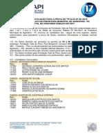 Edital de Convocação Para a Prova de Títulos - Agrestina -Pe