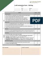 Student Peer & Self-evaluation Form - Writing