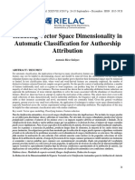 Reducing Vector Space Dimensionality in Automatic Classification for Authorship Attribution