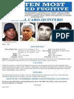 Rafael Caro Quintero Most wanted poster 20M USD reward 4.12.18