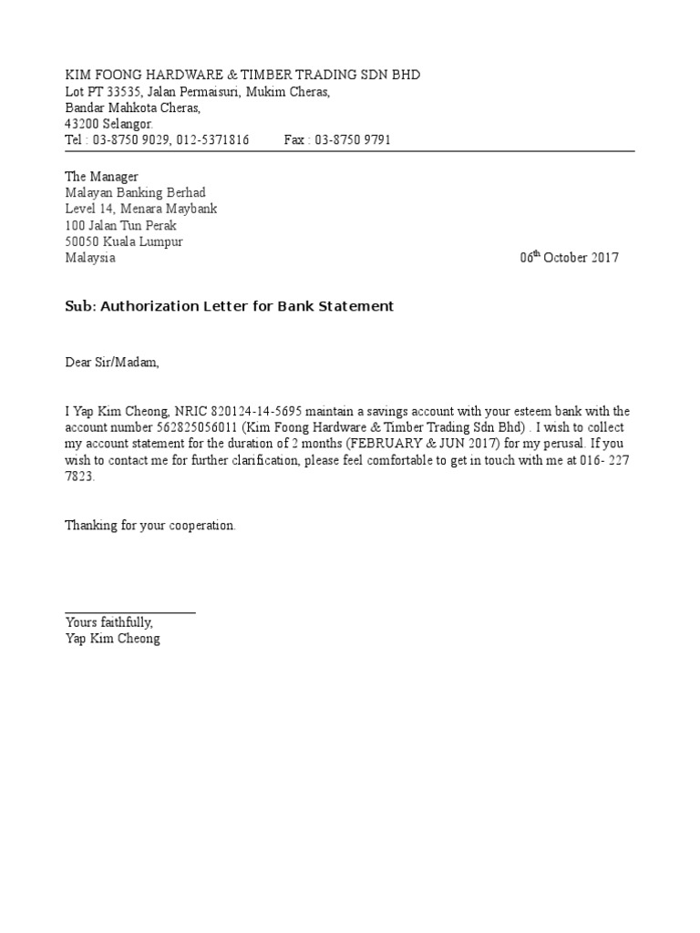 yes bank statement request letter