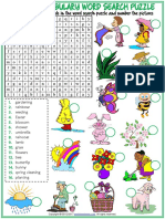 Spring Vocabulary Esl Word Search Puzzle Worksheet for Kids