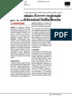C'è il Comitato d'onore regionale per le Celebrazioni Raffaellesche - Il Corriere Adriatico del 12 aprile 2018
