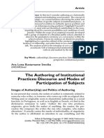 SMOLKA 2005 the Authoring of Institutional Practices. Discourses and Models of Participation of Subjetcs