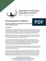 Recovering America's Wildlife Act Legislation with Bill Heck, Regional Director, Mississippi Flyway North, National Audubon Society