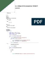 Pseudocódigos y códigos de los programas Unidad 5.docx
