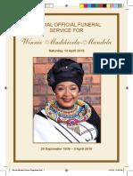 Winnie Mandela Funeral Programme