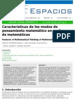 Modos de Pensamiento en Profesores de Matematicas
