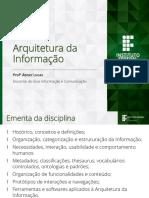 Introdução a Arquitetura Da Informação