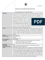 Post-Graduate Internship on Economic and Political Development Summer 2018