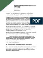 """COMPROMISO DE LIMA - """"GOBERNABILIDAD DEMOCRÁTICA FRENTE A LA CORRUPCIÓN"""""""