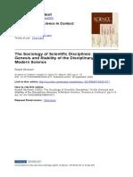 stichweh, 1992 The Sociology of Scientific Disciplines