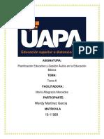 Tarea 6 de Planificacion Educativa y Gestion Aulica