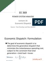 Lecture_16 Economic Dispatch