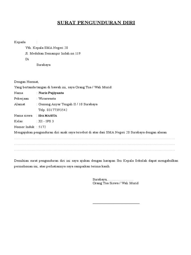 Surat Pengunduran Diri Editdoc