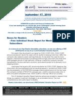 ValuEngine Weekly Newsletter September 17, 2010