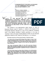 Comelec Documents on 25% Threshold 2016 Elections