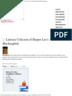 Literary Criticism of Harper Lee's to Kill a Mockingbird