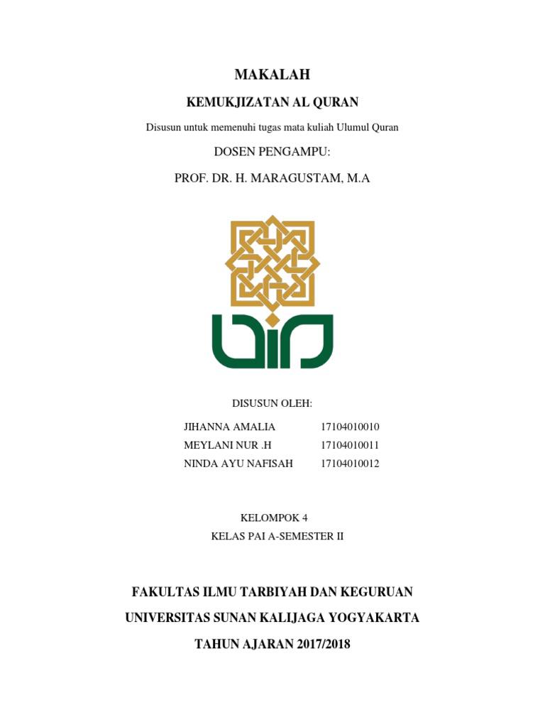 Makalah Kemukjizatan Al Quran