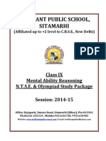IX Mental Ability Reasoning N.T.S.E. Olympiad Study Package 2014 15