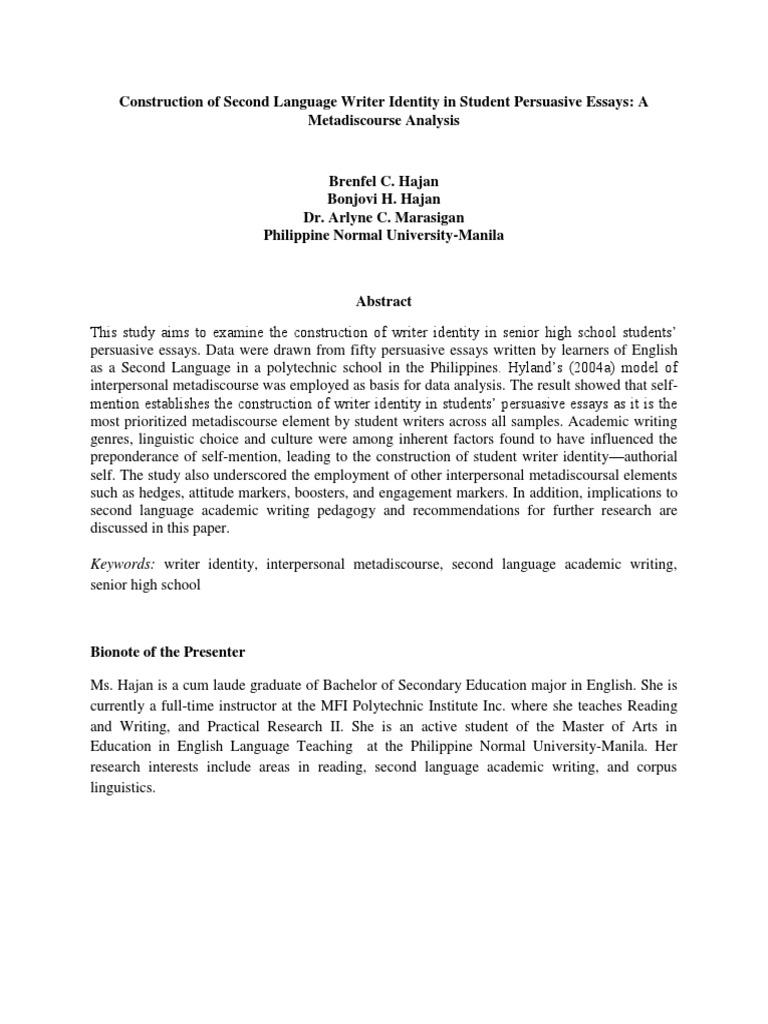 abstractconstruction of second language writer identity in student  abstractconstruction of second language writer identity in student  persuasive essays