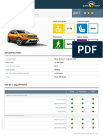 Euroncap 2017 Dacia Duster Datasheet