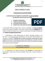 Edital 12-2018 - Convocação Lista de Espera Ingresso 2o Semestre