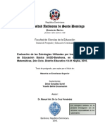 Evaluación de las Estrategias Utilizadas por los/as Egresados/as de Educación Básica UASD-Barahona, en el Área de las Matemáticas, 2do Ciclo. Distrito Educativo 18-01 Neyba, 2016.