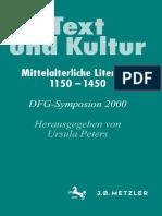 (Germanistische Symposien Berichtsbände) Ursula Peters (eds.)-Text und Kultur_ Mittelalterliche Literatur 1150–1450-J.B. Metzler (2001)