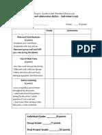 tsl pinwheel character discussion grading rubric