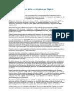 Argent de La Certification en Algérie