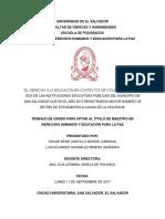 El Derecho a La Educacion en Contextos de Violencia Social (Maestria DDHH - UES 2017)