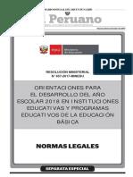 Minedu Orientaciones Desarrollo Ano Escolar 2018