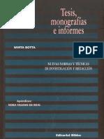 Botta, Mirta. Tesis, Monografias e Informes