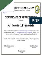 Certificate Week of Prayer