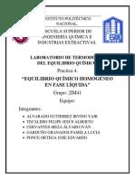 Termodinámica del Equilibrio Químico ESIQIE Practica 4.