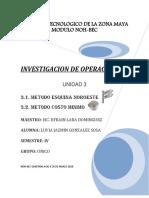 Método Esquina Noroeste Investigacion de Operaciones
