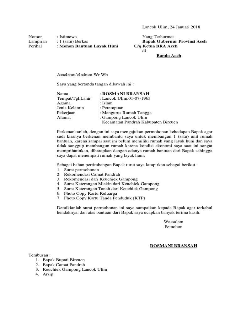 Contoh Surat Rasmi Permohonan Bantuan Baiki Rumah