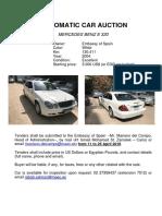 Diplomatic Car Auction - Mercedes Benz