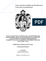 EVALUACIÓN DEL CONTROL DE LAS EXISTENCIAS PARA VERIFICAR SU EFECTIVIDAD EN LA GESTIÓN DE LAS VENTAS Y PROPONER MEDIDAS CORRECTIVAS EN LA EMPRESA BIOMEDIC IMPORT SAC LIMA –2014