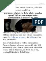 A Diario 10 Niños Son Víctimas de Violación Sexual en El Perú