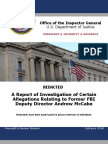 DOJ IG Firing Explanation of Andrew McCabe