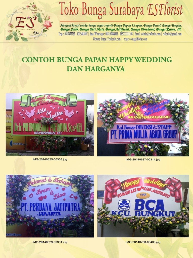 Surat Penawaran Contoh Bunga Papan Happy Wedding
