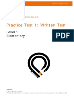 Pearson Test of English General Practice Test 1 Level 1 Elementary