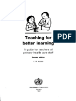Abbatt, Teaching for Better Learning-A Guide for Teachers of Primary Health Care Staff (2nd Ed)