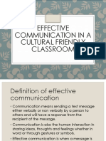 Effective Communication in a Cultural Friendly Classroom