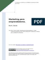 Burin, David (1998). Marketing Para Emprendedores