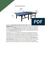 Medidas Mesa de Ping Pong