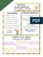April 2018 Paw Prints